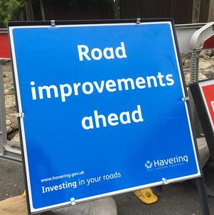 Road improvement sign June 2019