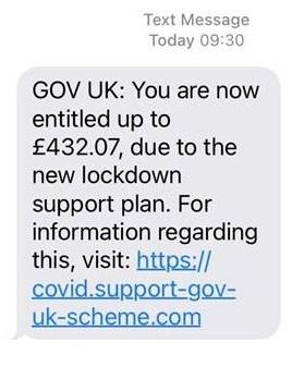 Scam text message Jan 2021