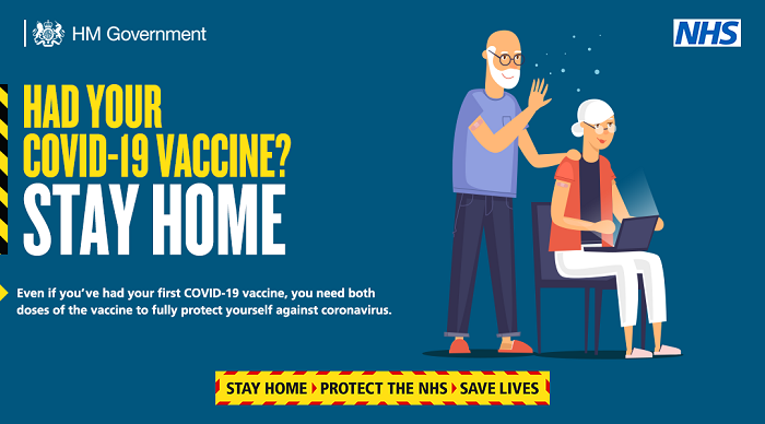Stay home after vaccine cartoon graphic