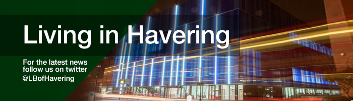 Living in Havering masthead with Sapphire centre at night