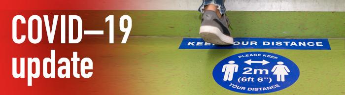 COVID update banner - floor sticker