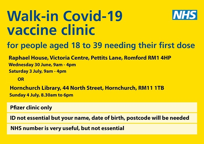 Walk in vaccination ctr July 2021