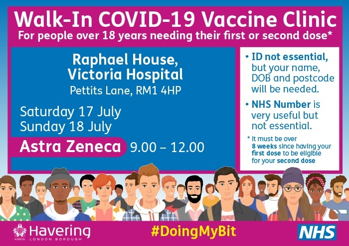 Walk in vaccination clinics 17 and 18 July 2021