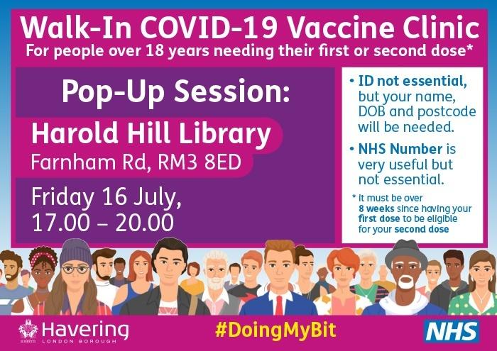 Walk in vaccination clininc Fri 16 July 2021