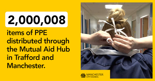 2,000,008 items of PPE distributed through the Mutual Aid Hub in Manchester and Trafford
