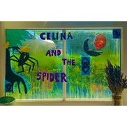 Celina and the spider window display