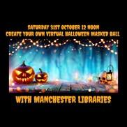 Virtual halloween masked ball poster