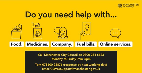 Do you need help with food, medicines, company, fuel bills or online services? Call the Council on 0800 234 6123