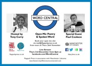 Word central open mic night flyer
