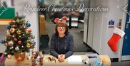 Reindeer Christmas decorations with Christmas tree on left lady in middle and christmas stocking on right
