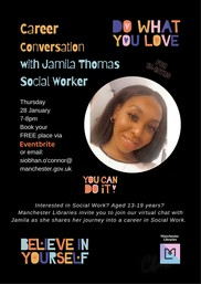Career Conversation Series for Young People: Social Worker Jamila Thomas poster