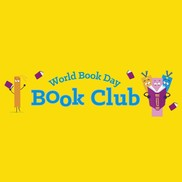 World book day Book club banner on yellow background