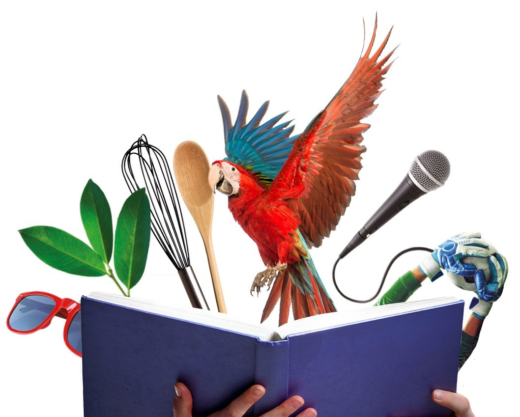 Parrot and various other items leaping out of a book