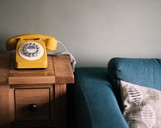 Settee and telephone