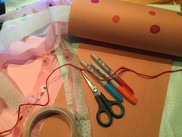Scissors, tape and card for crafting kites