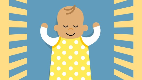 A cartoon of a happy baby sleeping.
