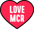LOVE MCR red heart graphic