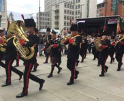 Armed forced day parade with brass band in St. Peter's square