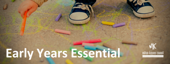 Early Years Essential Newsletter header image. Child playing with chalk.