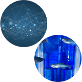 Composite image of an abstract network and zebrafish in a tank, representing the 2021 Challenges.