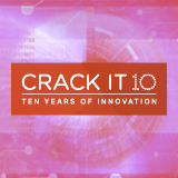 """Stylised image of a retina, with """"CRACK IT 10: ten years of innovation"""" on top of it"""