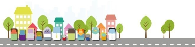 graphic of people on a a street with houses and trees