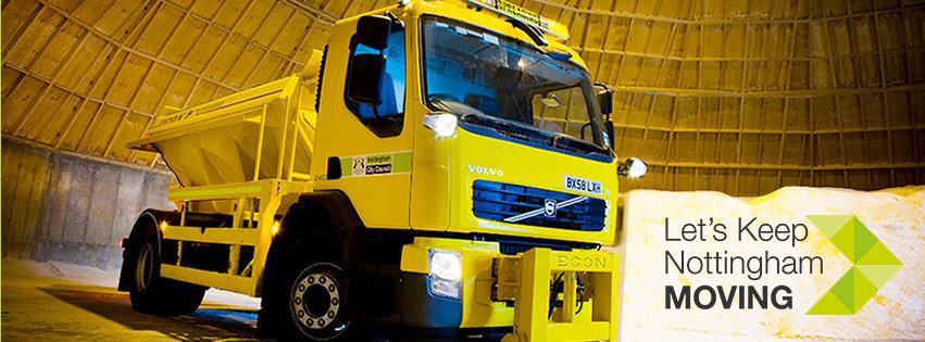 Gritting Nottingham image with Keep Nottingham Moving logo