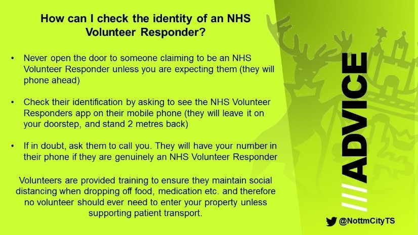 Checking the identity of NHS volunteers