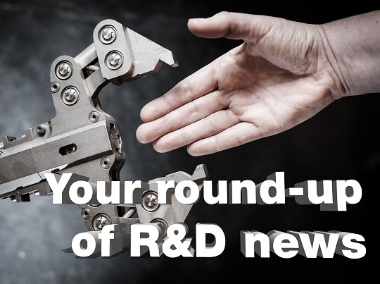 Robot hand with human hand and text saying Your round-up of R&D news