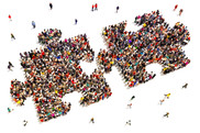 Public involvement - two jigsaw puzzle pieces made up of people, slotting together