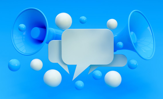 Speech bubbles and loudspeakers