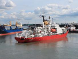 The RRS James Clark Ross leaving Southampton