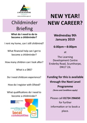 Childminder Briefing Session 9 January 2019