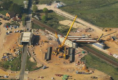 Bridge beam lift from the air