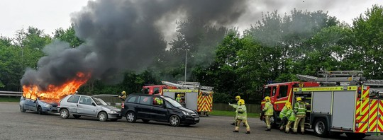 Fire crews at a training session