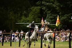 Image of Robin Hoods merry men jousting