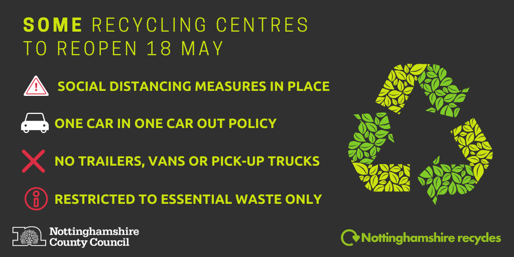Reopening of 6 of the 12 recycling centres in Nottinghamshire