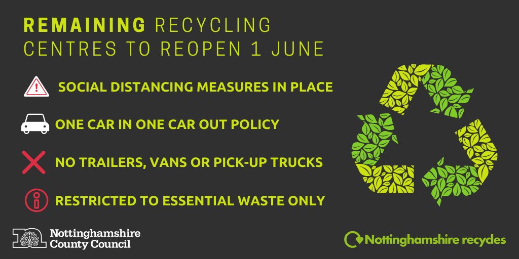 From June 1 all recycling centres in Nottinghamshire will be reopen.