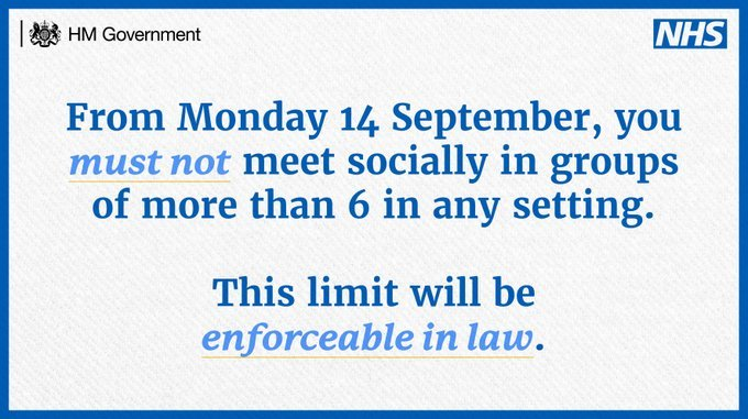 From Monday 14 September you must not meet in groups more than 6