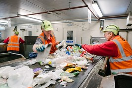 image of staff at the MRF sorting rubbish