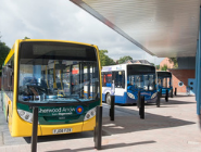 Yellow bus at bus stop