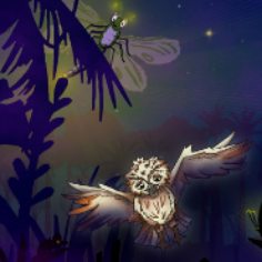 A dramatic illustration of an owl flying at night
