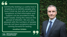 Jonathan Gribbin quote on community testing