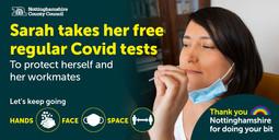 Sarah getting a Covid-19 test