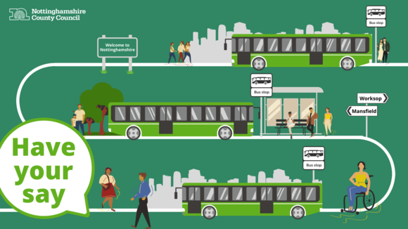 graphic showing buses and people. Image text reads have your say