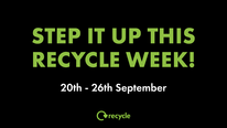 image text says step it up this recycle week