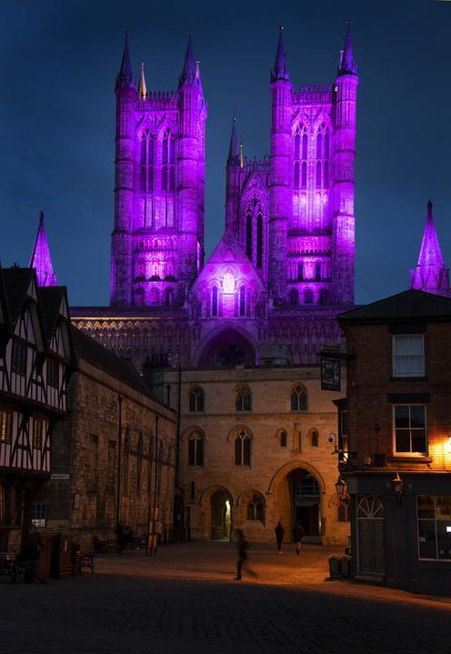 Census purple light up - Lincoln Cathedral lit up in purple