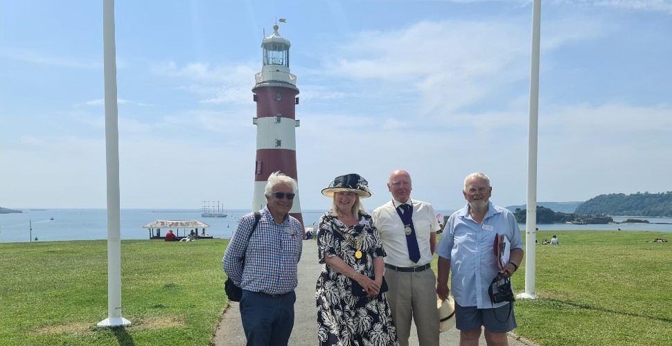 Britain In Bloom judges with Lord Mayor of Plymouth in front of Smeaton's Tower on Plymouth Hoe
