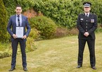 Detective Constable Steve Baker with the Chief Constable's Commendation presented to him by Chief Constable Ben-Julian Harrington