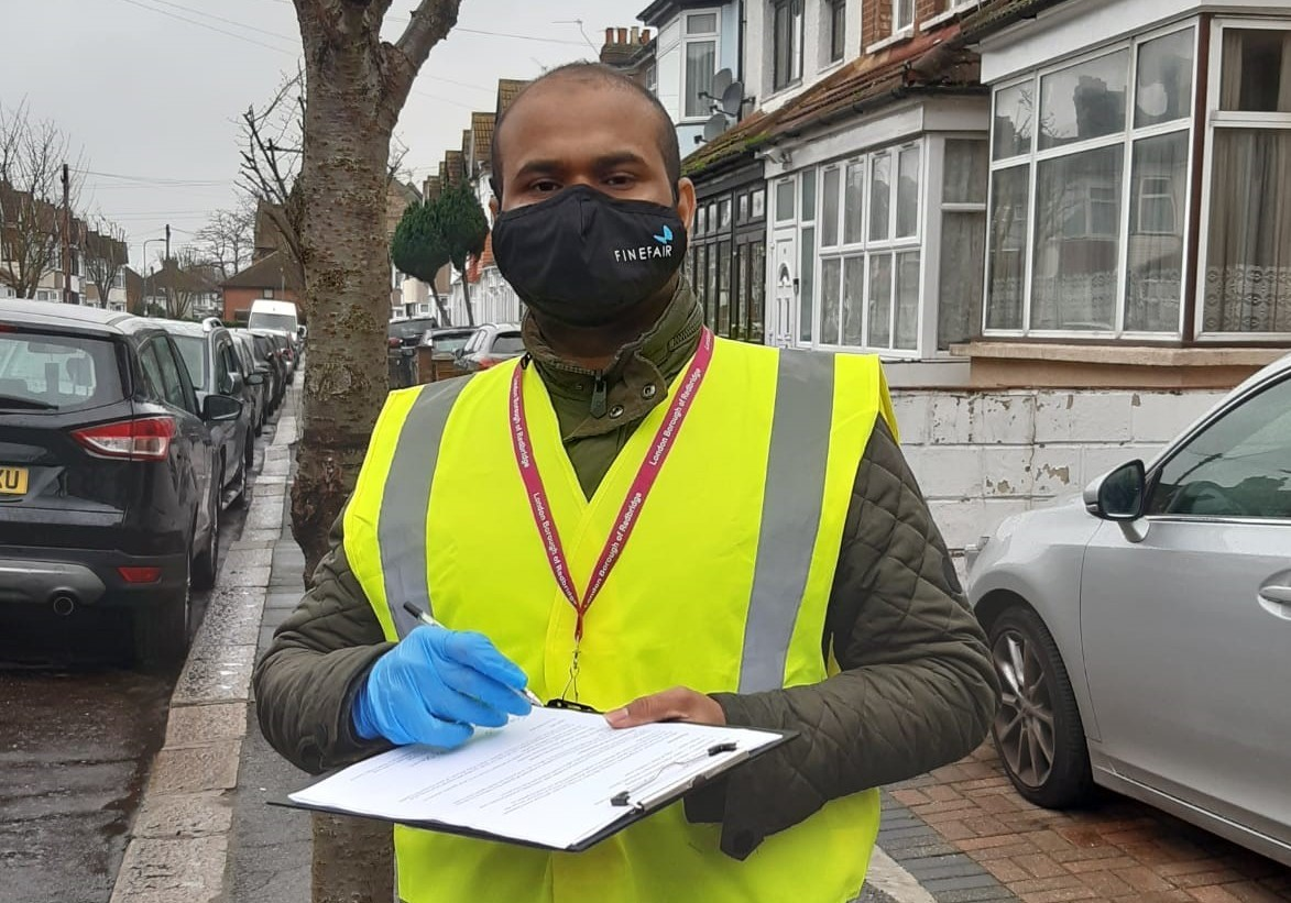 Council officer in face mask